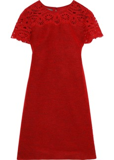 Alberta Ferretti Woman Crochet-paneled Brushed Woven Mini Dress Red