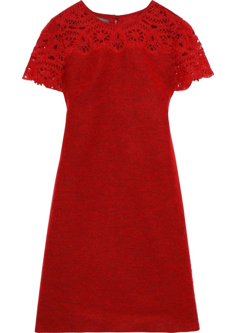 Alberta Ferretti Woman Crochet-paneled Brushed Woven Mini Dress Red