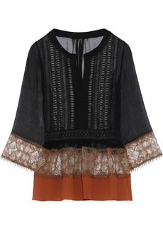 Alberta Ferretti Woman Crochet-paneled Embroidered Tulle-trimmed Silk-gauze Top Black