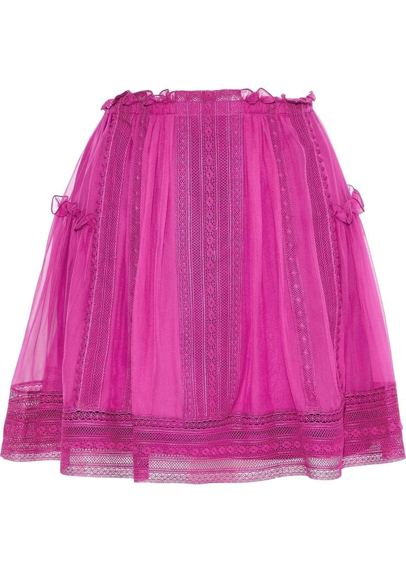 Alberta Ferretti Woman Crochet-trimmed Pleated Silk-chiffon Mini Skirt Magenta