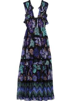 Alberta Ferretti Woman Crochet-trimmed Pleated Printed Silk-chiffon Gown Purple