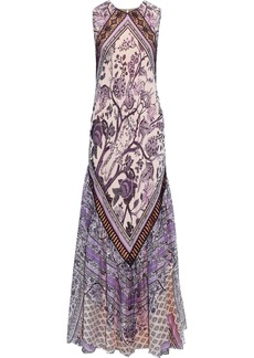 Alberta Ferretti Woman Crochet-trimmed Printed Silk-chiffon Maxi Dress Lavender