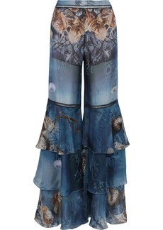 Alberta Ferretti Woman Crochet-trimmed Tiered Printed Silk-chiffon Flared Pants Blue