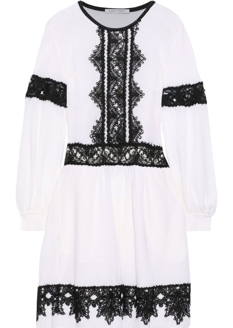 Alberta Ferretti Woman Crochet-trimmed Wool Mini Dress Ivory
