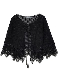 Alberta Ferretti Woman Crocheted Cotton Shrug Black