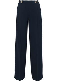Alberta Ferretti Woman Button-embellished Cady Wide-leg Pants Navy