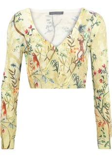 Alberta Ferretti Woman Cropped Printed Wool Cardigan Pastel Yellow