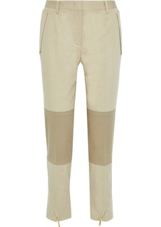 Alberta Ferretti Woman Cropped Two-tone Cotton-blend Twill Tapered Pants Beige