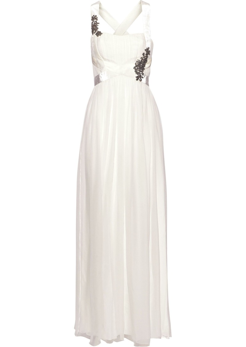 Alberta Ferretti Woman Crystal-embellished Velvet-trimmed Silk-chiffon Gown Off-white
