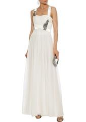 Alberta Ferretti Woman Crystal-embellished Velvet-trimmed Silk-chiffon Gown Off-white