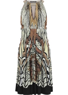 Alberta Ferretti Woman Cutout Embellished Printed Jersey Dress Grey Green