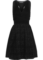 Alberta Ferretti Woman Cutout Georgette And Broderie Anglaise Cotton-blend Mini Dress Black