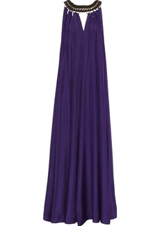 Alberta Ferretti Woman Cutout Ring-embellished Silk-satin Gown Dark Purple