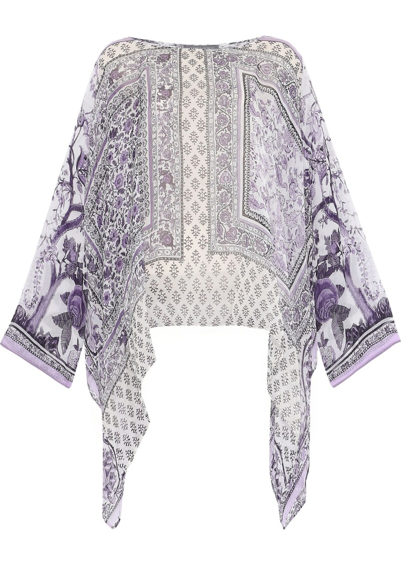 Alberta Ferretti Woman Draped Printed Silk-chiffon Top Lavender