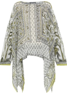 Alberta Ferretti Woman Draped Printed Silk-chiffon Top Sage Green