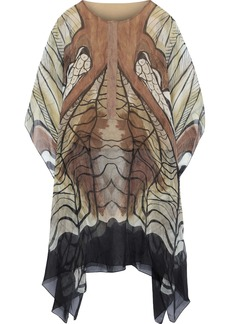 Alberta Ferretti Woman Draped Printed Silk-chiffon Tunic Tan
