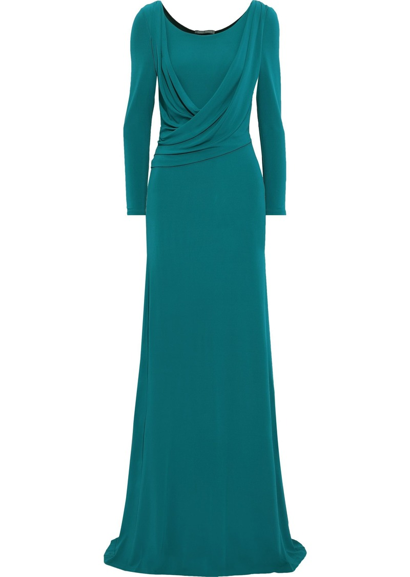 Alberta Ferretti Woman Draped Stretch-crepe Gown Teal