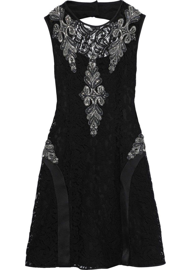 Alberta Ferretti Woman Embellished Corded Lace-appliquéd Cutout Satin-crepe Mini Dress Black