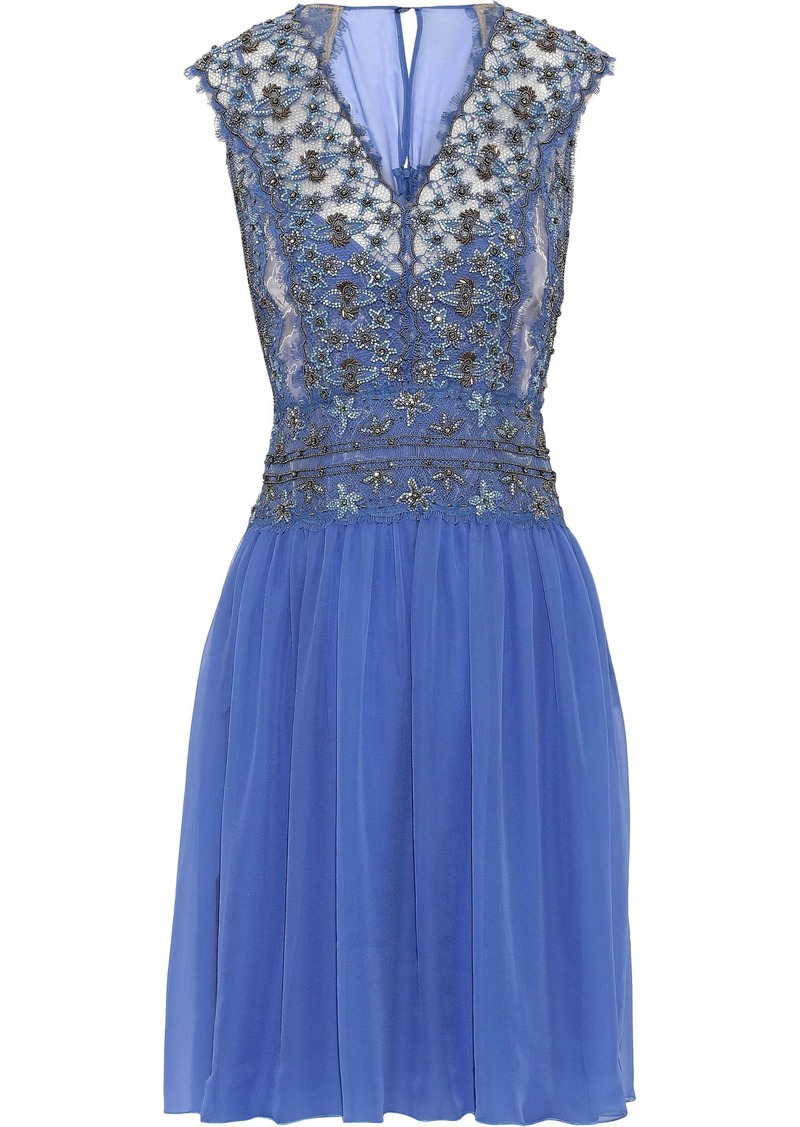 Alberta Ferretti Woman Embellished Lace-appliquéd Tulle And Silk-chiffon Dress Blue