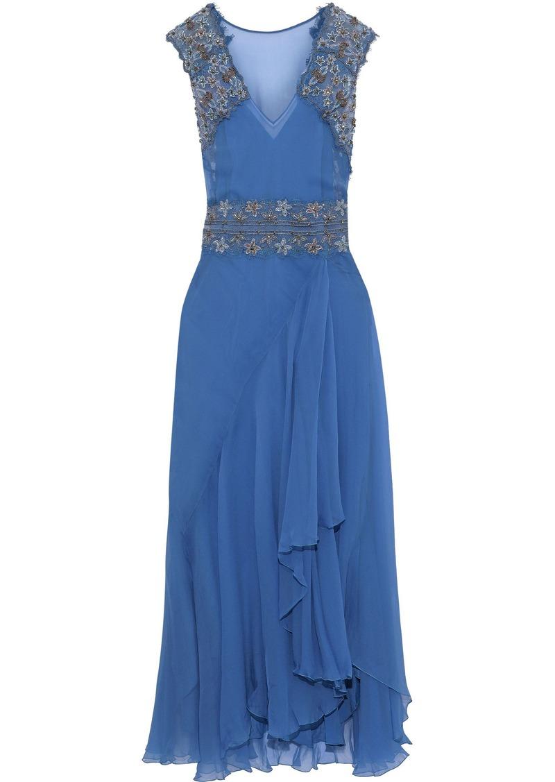 Alberta Ferretti Woman Embellished Lace-paneled Ruffled Silk-chiffon Gown Azure