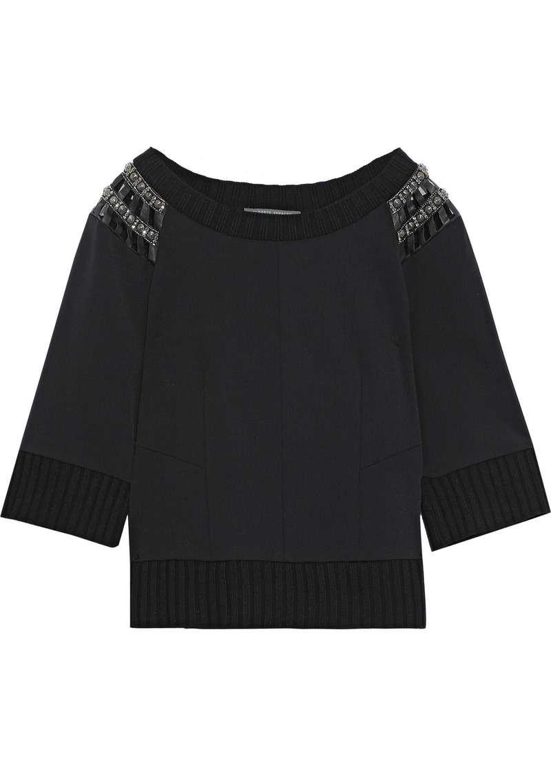 Alberta Ferretti Woman Embellished Leather-trimmed Ponte Top Black