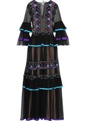 Alberta Ferretti Woman Embellished Tulle And Mesh-paneled Silk-chiffon Gown Black