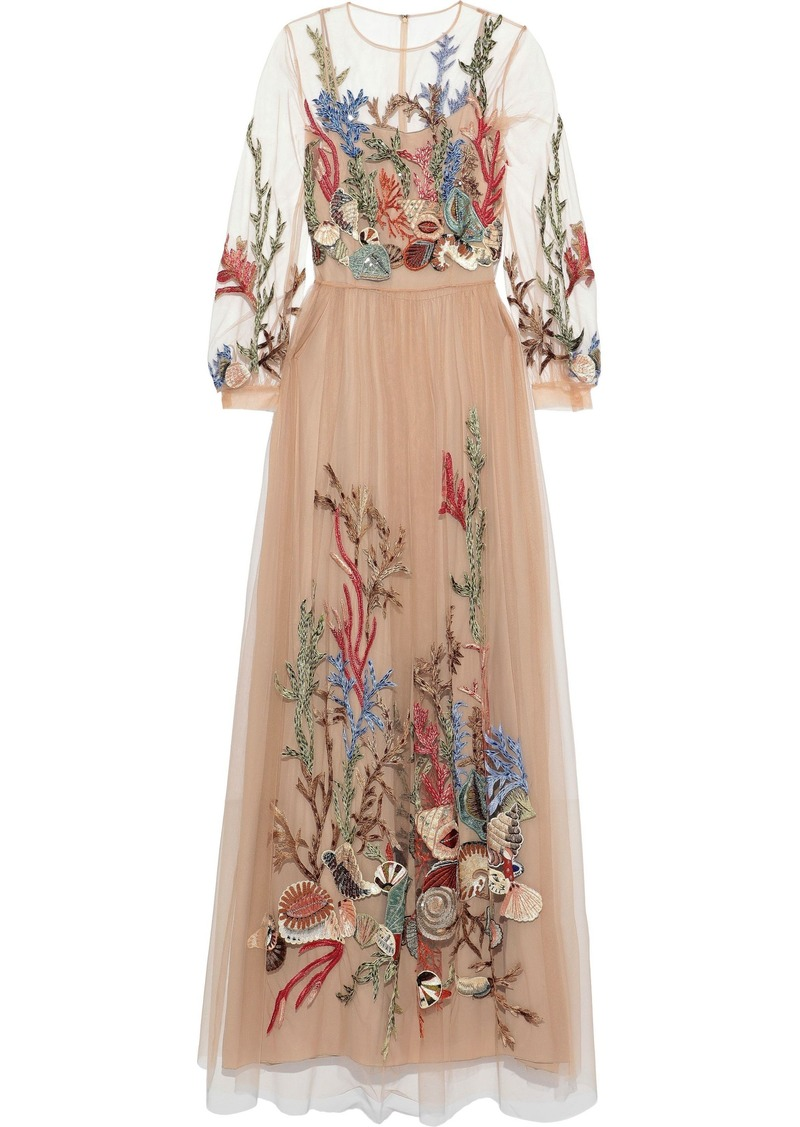 Alberta Ferretti Woman Embellished Tulle Gown Antique Rose