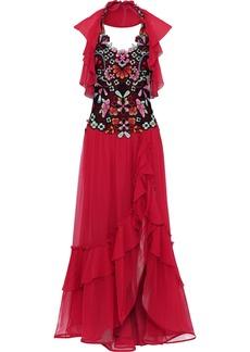 Alberta Ferretti Woman Embellished Tulle-paneled Ruffled Silk-chiffon Gown Red