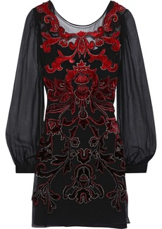 Alberta Ferretti Woman Embellished Velvet-appliquéd Silk-chiffon Mini Dress Black