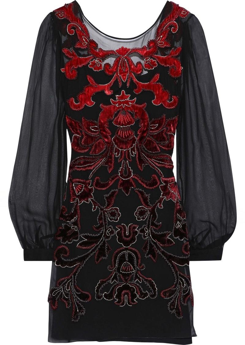 Alberta Ferretti Woman Embellished Velvet-appliquéd Silk-chiffon Mini Dress Black