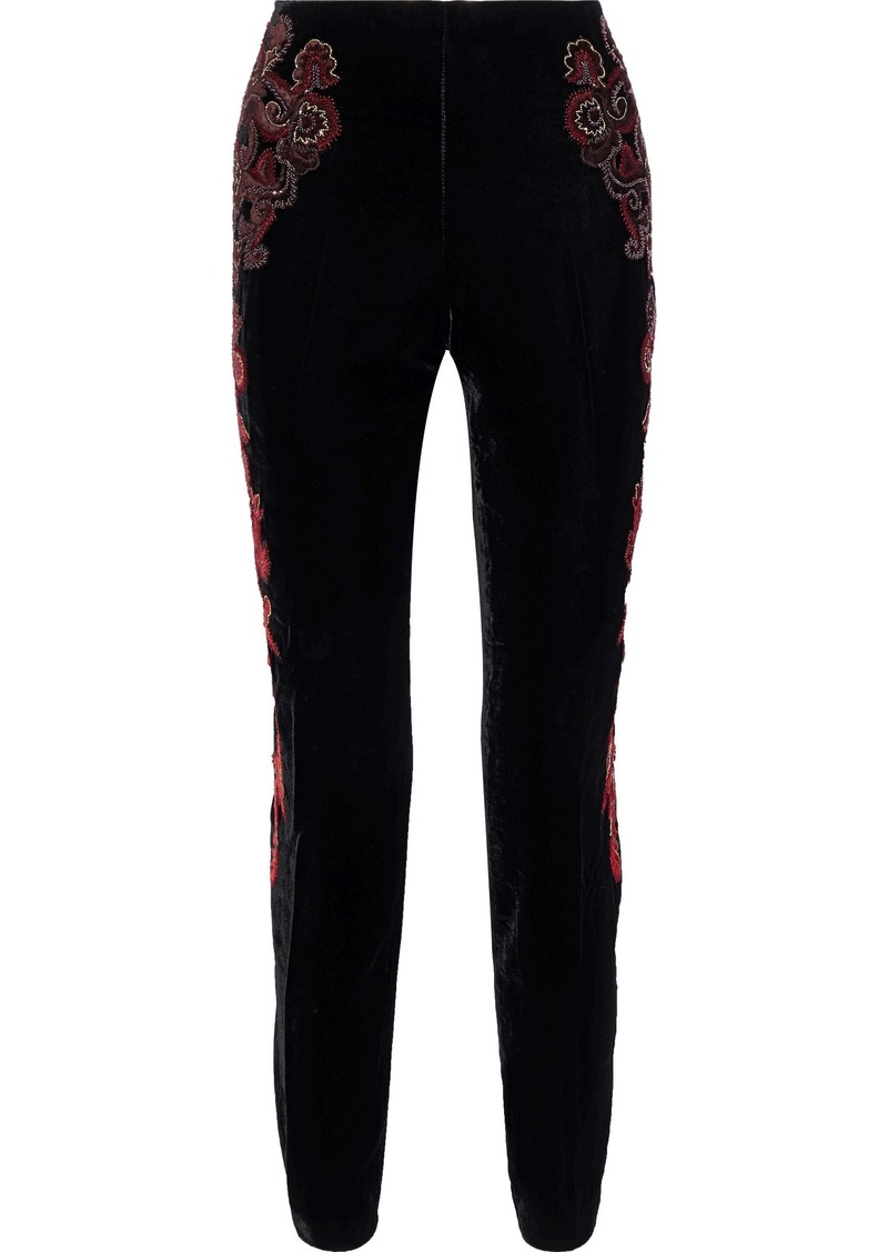 Alberta Ferretti Woman Embellished Velvet Straight-leg Pants Black