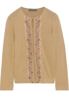 Alberta Ferretti Woman Embellished Wool Silk And Cashmere-blend Cardigan Camel