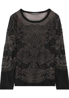 Alberta Ferretti Woman Embroidered Crochet-knit Wool Sweater Dark Brown