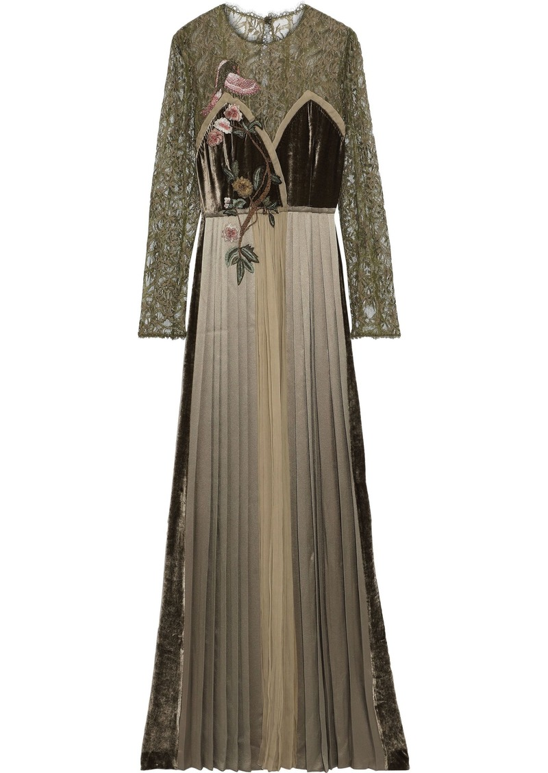 Alberta Ferretti Woman Embroidered Lace Velvet Georgette And Satin Gown Leaf Green