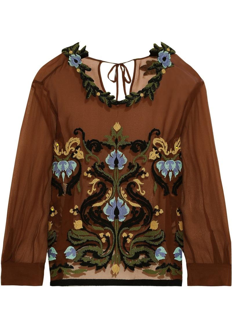 Alberta Ferretti Woman Embroidered Silk-georgette Top Brown