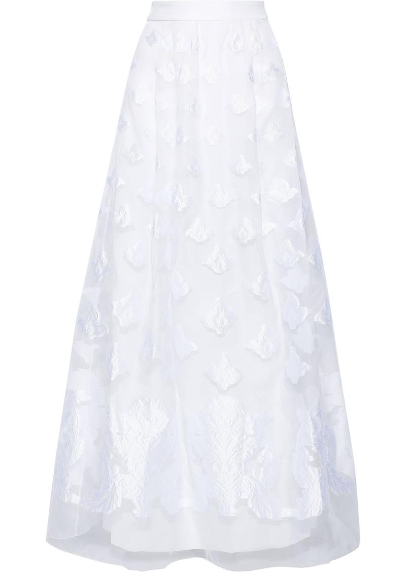 Alberta Ferretti Woman Flared Fil Coupé Organza Maxi Skirt White