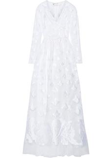Alberta Ferretti Woman Fil Coupé Organza Wrap Gown White