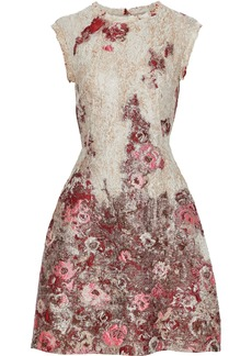 Alberta Ferretti Woman Flared Brocade Mini Dress Neutral