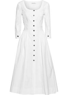 Alberta Ferretti Woman Flared Cotton-blend Poplin Midi Dress White