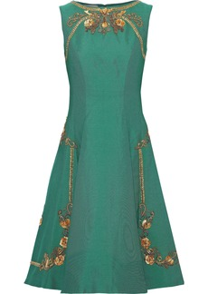 Alberta Ferretti Woman Flared Embellished Ponte Dress Green