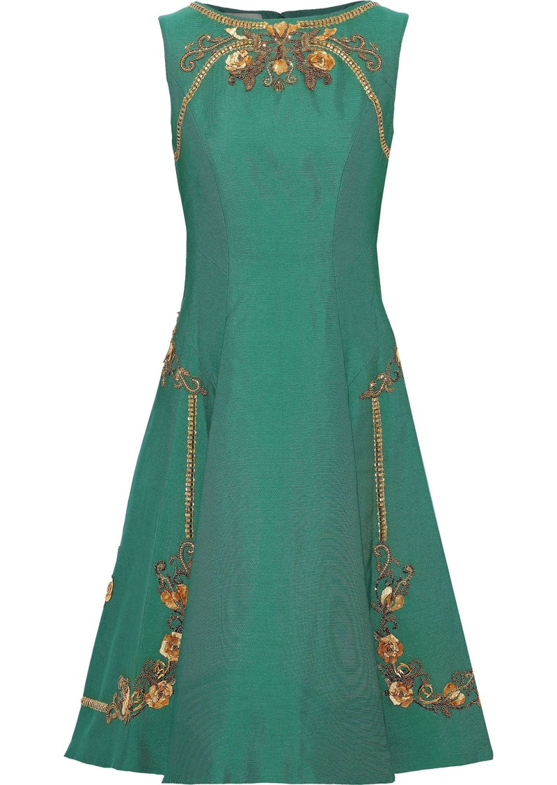 Alberta Ferretti Woman Flared Embellished Ponte Dress Green