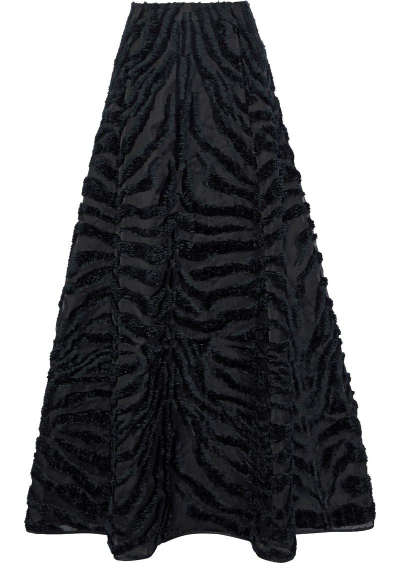 Alberta Ferretti Woman Flared Fil Coupé Organza Maxi Skirt Black