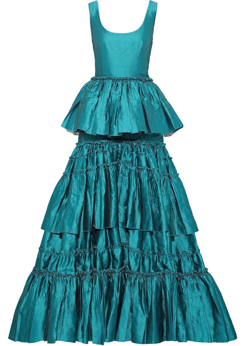 Alberta Ferretti Woman Flared Tiered Linen-blend Taffeta Gown Turquoise