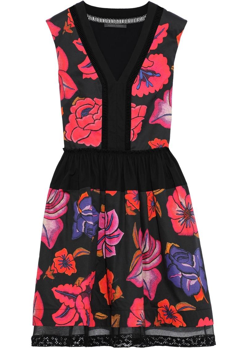 Alberta Ferretti Woman Flared Tulle-trimmed Floral-print Cotton-poplin Mini Dress Multicolor