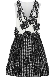 Alberta Ferretti Woman Floral-appliquéd Embroidered Silk-organza Mini Dress Black