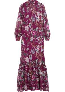 Alberta Ferretti Woman Floral-print Silk-chiffon Maxi Dress Violet