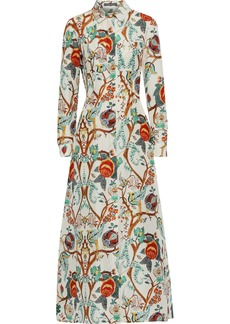 Alberta Ferretti Woman Floral-print Silk Crepe De Chine Maxi Shirt Dress Cream