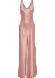 Alberta Ferretti Woman Fluted Draped Silk-satin Gown Antique Rose