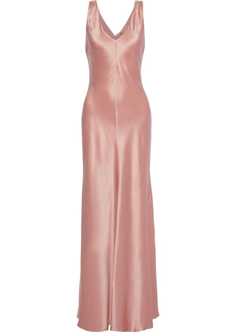 Alberta Ferretti Woman Fluted Draped Silk-satin Gown Antique Rose