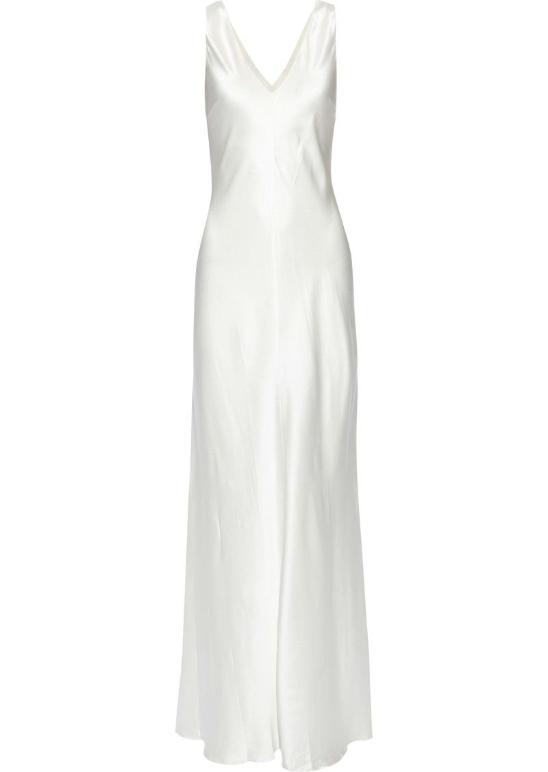 Alberta Ferretti Woman Fluted Draped Silk-satin Gown Off-white
